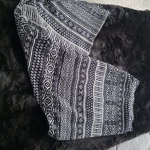 Black and white Aztec pattern high low skirt